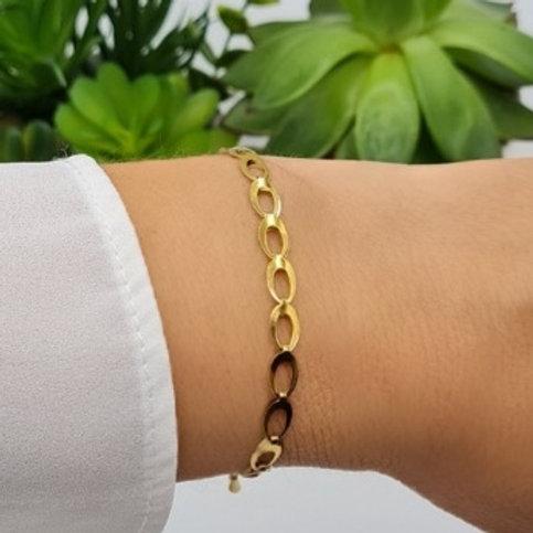 Bracelet en acier inoxydable doré maille ovale
