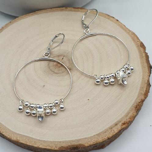 Boucles d'oreilles en argent anneau et étoile