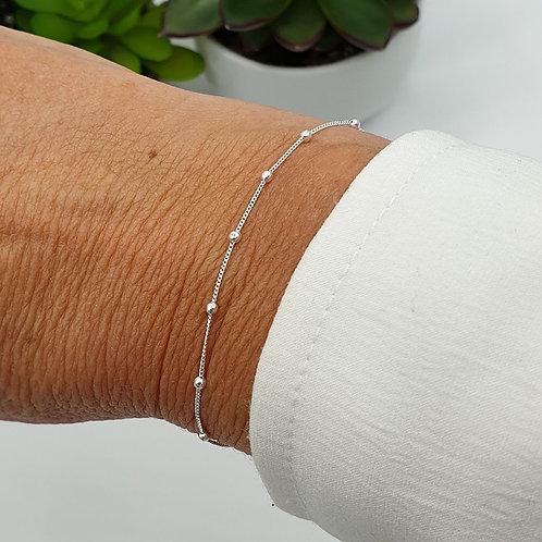 Bracelet en argent 925 chaîne avec perles