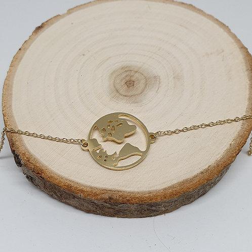 Bracelet en acier inoxydable doré carte du monde