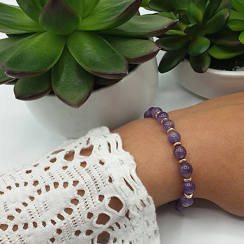 Bracelet en perles d'améthyste