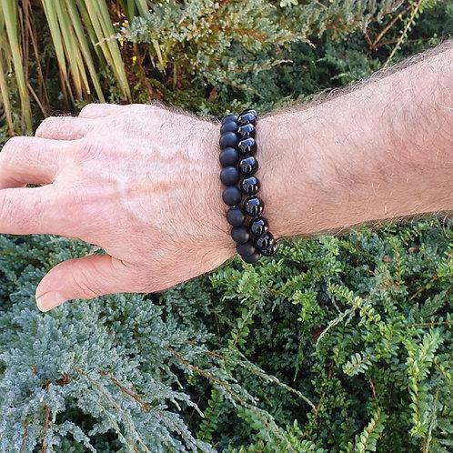 Bracelet homme obsidienne noire