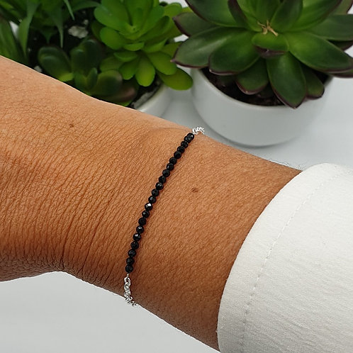 Bracelet en argent et perles d'obsidienne