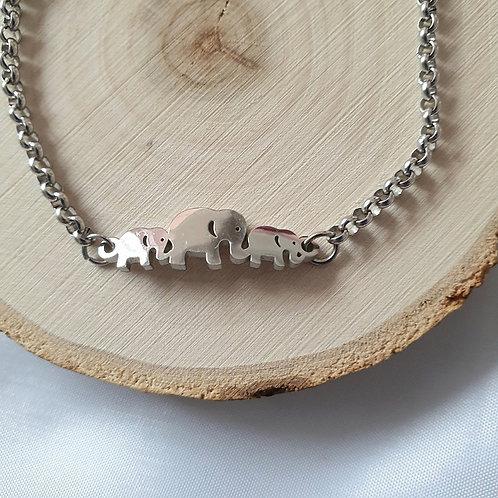 Bracelet acier inoxydable éléphants