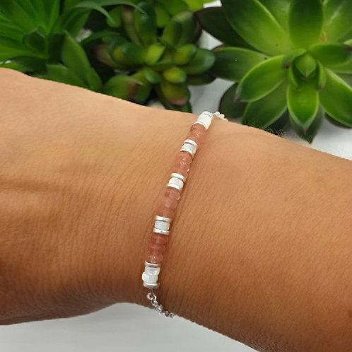 Bracelet en argent, coquillage et quartz