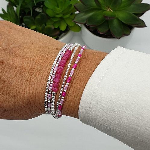 Bracelet 5 fils en argent et perles de tourmaline