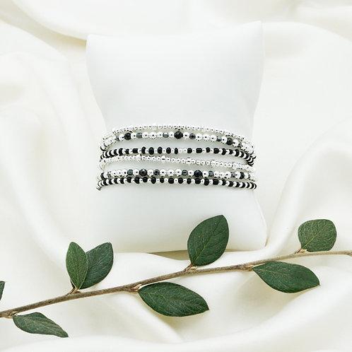 Bracelet double tours de perles d'argent et obsidienne