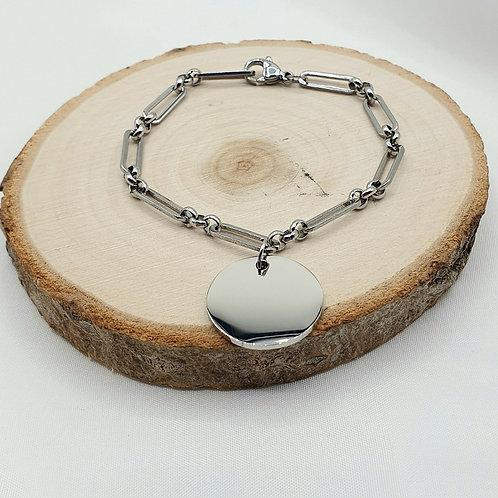 "Bracelet en acier inoxydable ""médaille"""