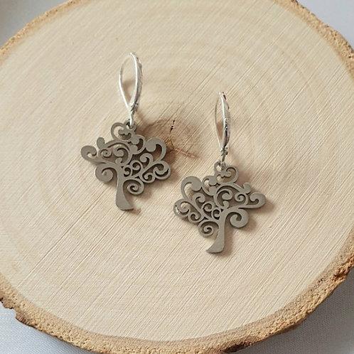 """Boucles d'oreilles en acier inoxydable """"arbre de vie"""""""