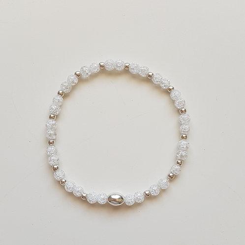 Bracelet perles de cristal de roche givré 4 mm et argent 925 n°1