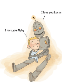 Lucas and Alphy hug