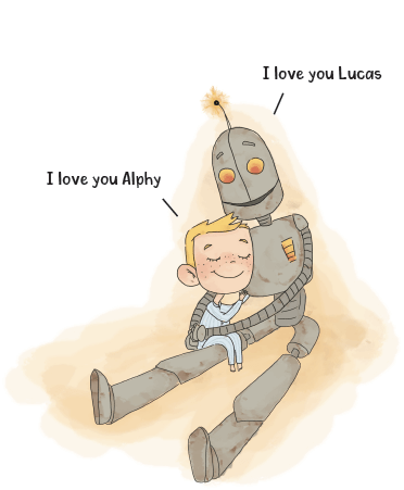 Lucas and Alphy hug