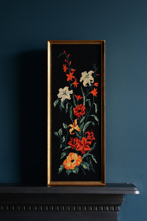 Flemish needlepoint tapestries of flowers