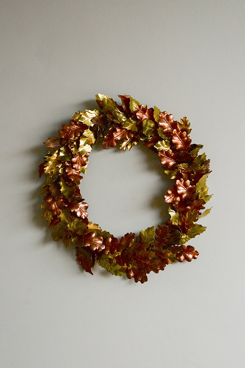 Handmade brass and copper leaf wreath