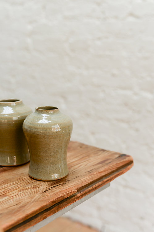 Green bud vases by Will Martin