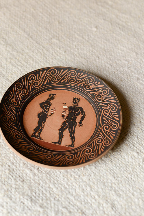 'The Balancing Act of 2020' Terracotta Plate by Sid Henderson