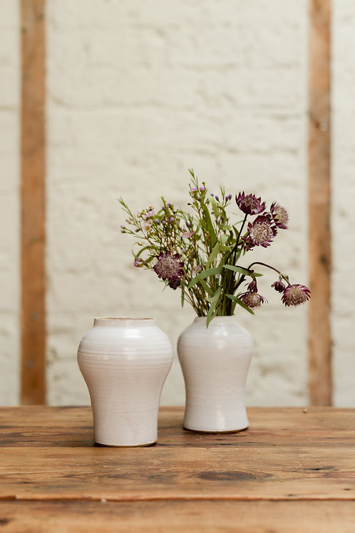 White bud vases by Will Martin