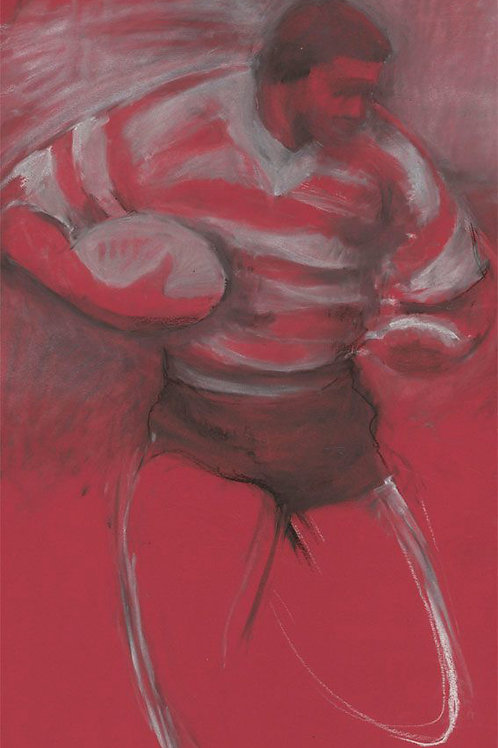 Pastel of a rugby player