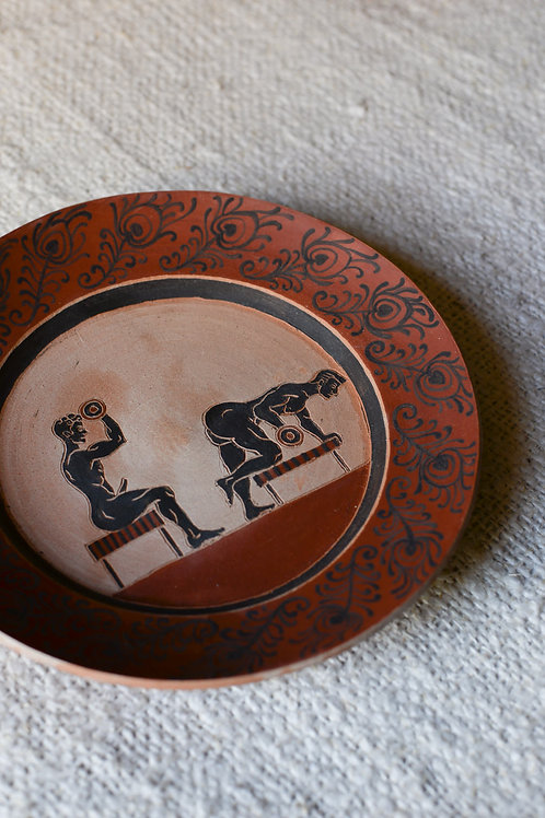 'Peacocking' Terracotta Plate by Sid Henderson