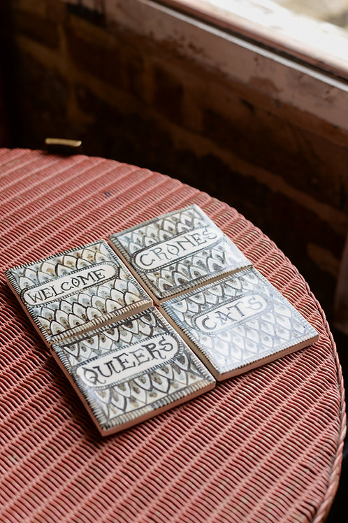'Welcome Crones, Cats, Queers' tile set by Rachael House