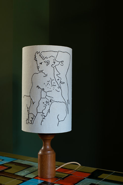 Lampshade with embroidery by Russell J R Harris