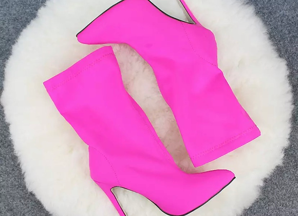 Sexy Hot Pink Heel Sock Boots Stiletto Heels Satin Stretch Fabric Ankle B