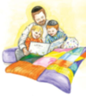 Father reads jewish bedtime stories to young boy and girl