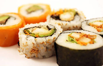 Hand rolled sushi rolls
