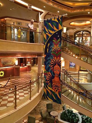 Bill Ferrell Co.'s custom banner display structure for Princess Cruises