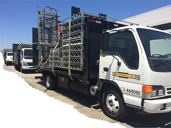 Bill Ferrell Co. truck fleet for secure set transport, installation and storage