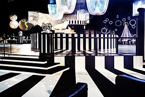 "Bill Ferrell Co.'s Black and White ""Mod"" stage for the 63rd Emmy Awards Governors Ball"