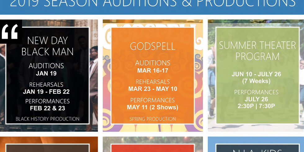 N.I.A. Kids 2019 Season Schedule of Auditions and Productions