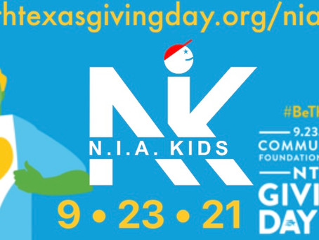 North Texas Giving Day 2021 is here!!  N.I.A. Kids needs your support!