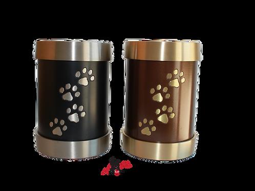 urne aluminium bougeoir noir brun patte de animal, chien chat lapin oiseau hamster cendres incinération, animal domestique