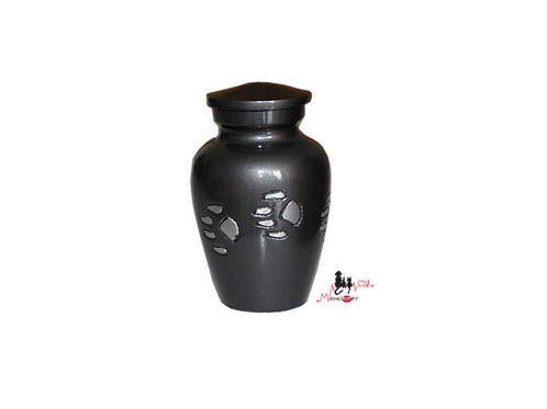 mini urne aluminium gris patte de animal, chien chat cendres incinération, animal domestique