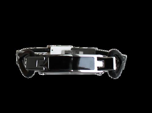 urne bracelet pour homme, simili cuir noir et acier inoxydable