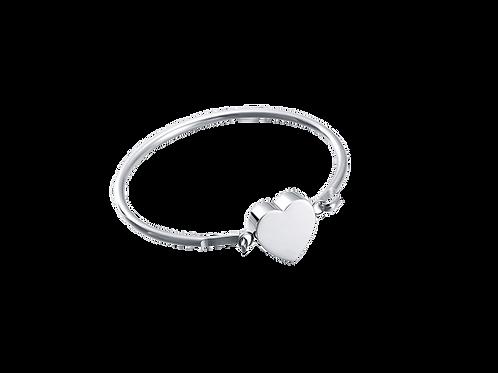 urne bracelet acier inoxydable rigide fermé avec un cœur au centre