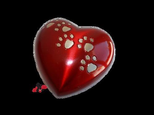 mini urne laiton rouge patte de animal, chien chat lapin oiseau hamster cendres incinération, animal domestique