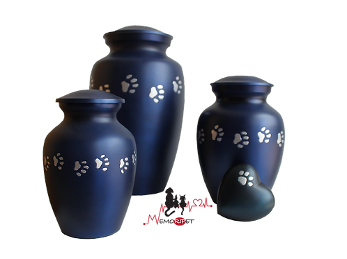 Urne aluminium bleu patte de animal argenté, chien chat lapin oiseau hamster cendres incinération