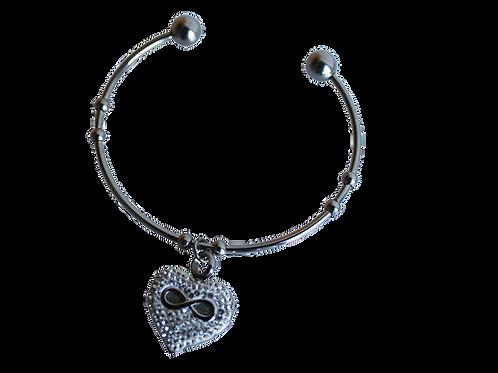 urne bracelet acier inoxydable, rigide ouvert symbole infini gravé sur cœur et strass