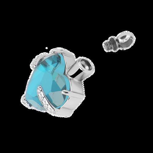 Urne pendentif cœur avec pierre bleue vue urne ouverte