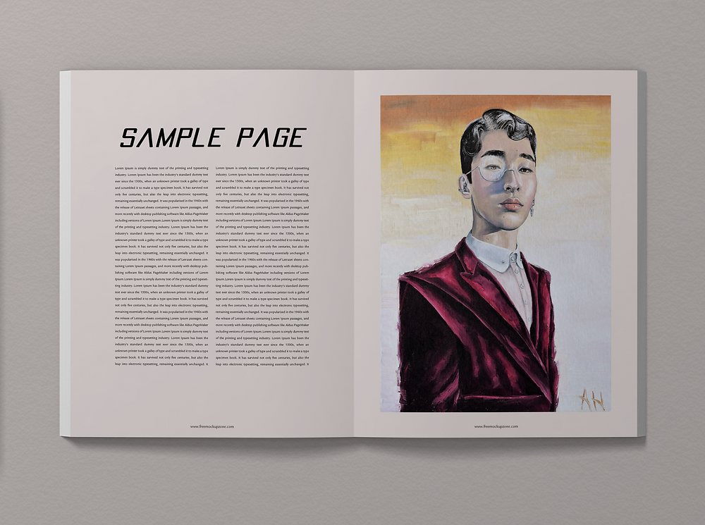 A mockup of an interior page of the magazine using Al Hess' work. The left-hand page is filled with sample text. The right-hand page has Al Hess's artwork.
