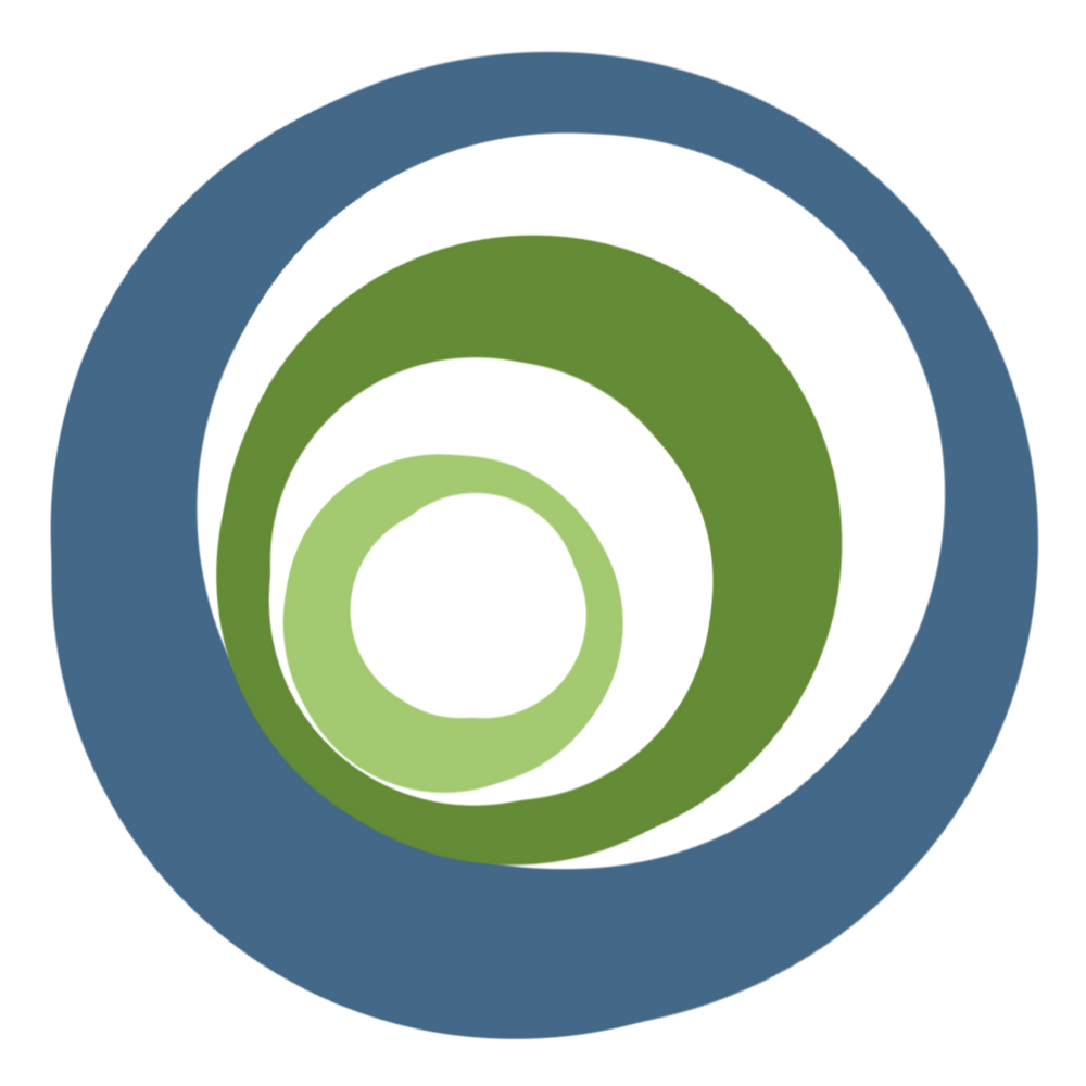 Three nested circles: blue on the outside, dark green in the middle, light green on the inside.