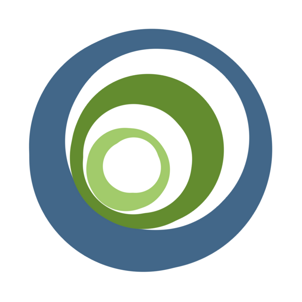 Inclusive Future Magazine Logo. Three nested circles. The outer one blue, middle dark green, inner one light green.