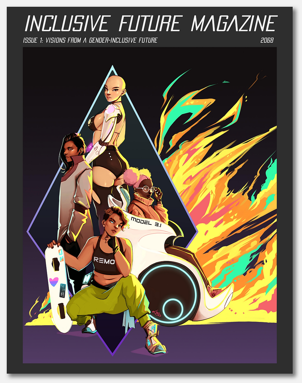 Mockup of the cover of Inclusve Future Magazine, Issue one. The cover illustration by Liasis_D is bordered by dark gray. Title: Inclusive Future Magazine. Subtitle: Issue 1: Visions from a Gender Inclusive-Future. 2068. Cover Illustration: In the foreground: four figures of various races, gender presentations, and ability. In the background: a mutli-colored fire explodes to the right from a neon diamond.