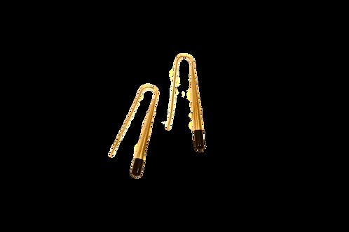 Brass Pole Earrings with Black Horn Tips