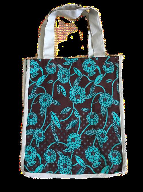 Teal Flowers Grocery Bag
