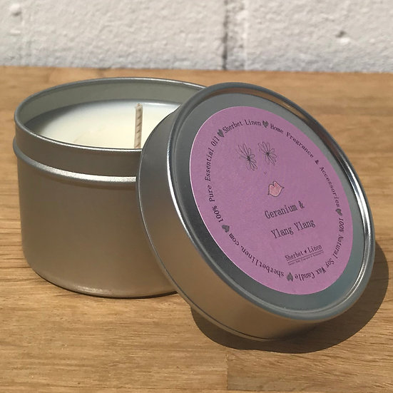 Geranium & Ylang Ylang Travel Soy Wax Candle. 100% Pure Essential Oils.