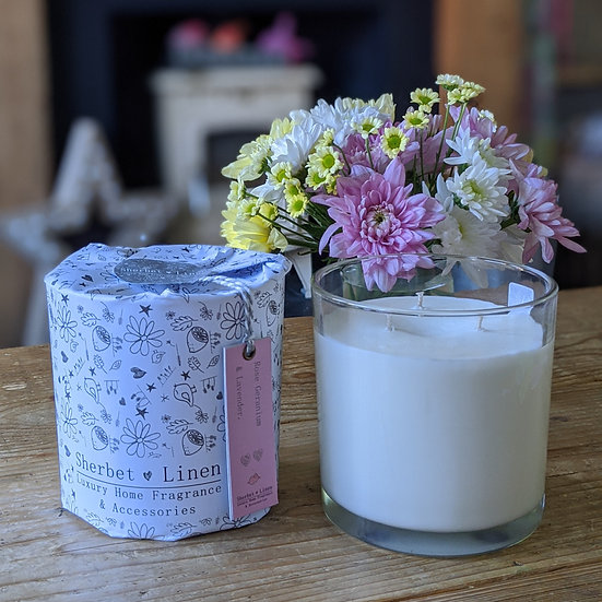 Rose Geranium & Lavender Luxury, Triple Wick, Soy Wax Candle