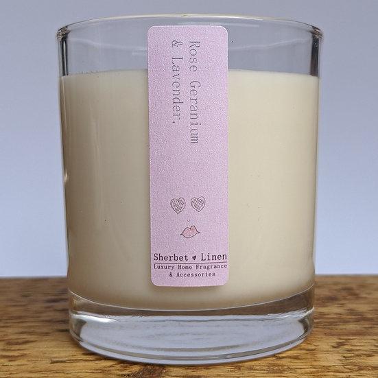 Rose Geranium & Lavender Luxury Soy Wax Candle